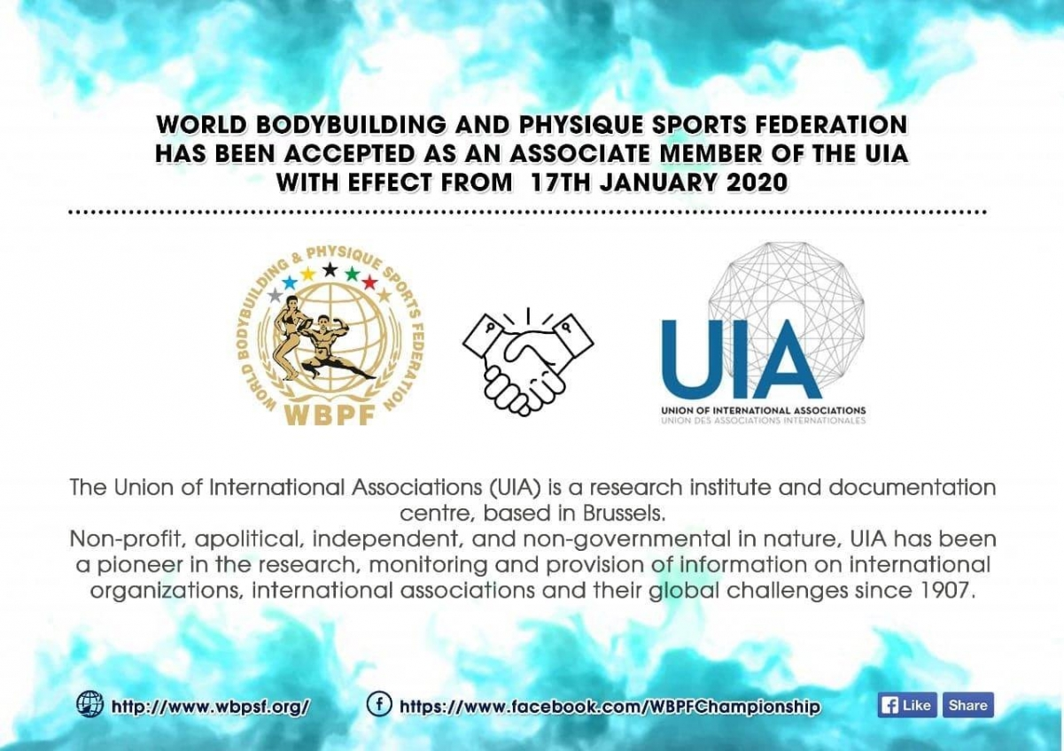 World Bodybuilding and Physique Sports Federation - accepted as UIA member